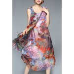 Colorful Printed Chiffon Tank Dress deal