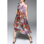 best Colorful Printed Chiffon Tank Dress