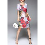 Flower Print A Line Silk Dress for sale