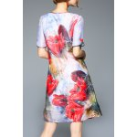cheap Flower Print A Line Silk Dress