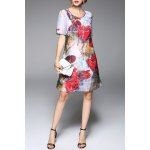 best Flower Print A Line Silk Dress