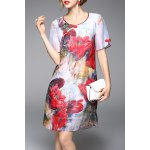 Flower Print A Line Silk Dress deal