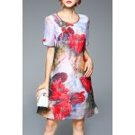 Flower Print A Line Silk Dress