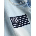 Wash Bleach Button Design Ripped Embroidery Jeans photo