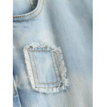best Wash Bleach Button Design Ripped Embroidery Jeans