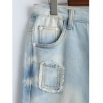 Wash Bleach Button Design Ripped Embroidery Jeans for sale
