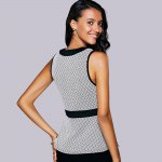 Casual Round Neck Print Ruffled Top For Women for sale