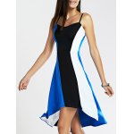 Spaghetti Strap Color Blocks High-Low Dress