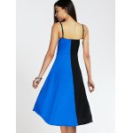 Spaghetti Strap Color Blocks High-Low Summer Dress for sale