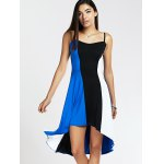 cheap Spaghetti Strap Color Blocks High-Low Summer Dress