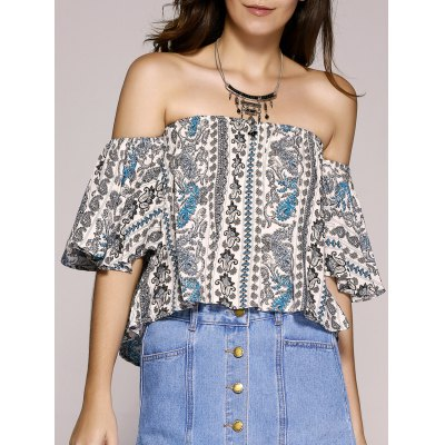 Printing Off The Shoulder Paisley Printed Crop Top For Women