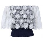 cheap Fashionable Off The Shoulder Crochet Lace Crop Top For Women