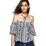 cheap Ethnic Style Off The Shoulder Print Crop Top For Women