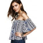 Ethnic Style Off The Shoulder Print Crop Top For Women deal