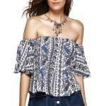 Ethnic Style Off The Shoulder Print Crop Top For Women
