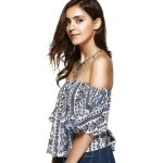 Ethnic Style Off The Shoulder Print Crop Top For Women for sale