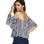 best Ethnic Style Off The Shoulder Print Crop Top For Women