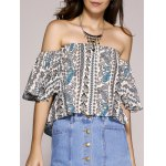 Ethnic Style Off The Shoulder Paisley Printed Crop Top For Women