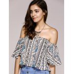 Ethnic Style Off The Shoulder Paisley Printed Crop Top For Women deal