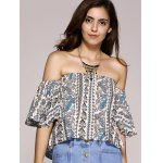 cheap Ethnic Style Off The Shoulder Paisley Printed Crop Top For Women