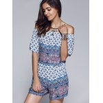 cheap Ethnic Style Printed Off The Shoulder CropTop + Shorts Twinset For Women