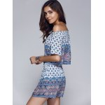 Ethnic Style Printed Off The Shoulder CropTop + Shorts Twinset For Women for sale