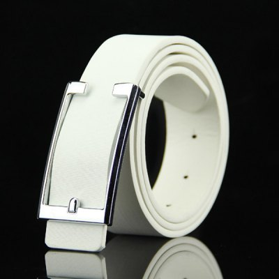 Simple Cut Out Rectangle Buckle Casual PU Belt For Men
