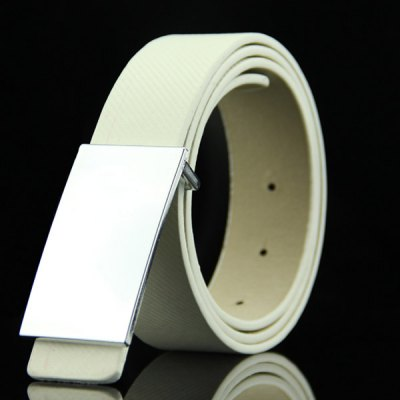 Smooth White Rectangle Shape Buckle Casual PU Belt For Men