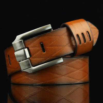 Stylish Pin Buckle Rhombus Mesh Embossed Casual PU Belt For Men
