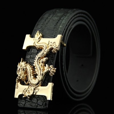 Chinese Dragon Shape Buckle Crocodile Skin Embossed Casual PU Belt For Men