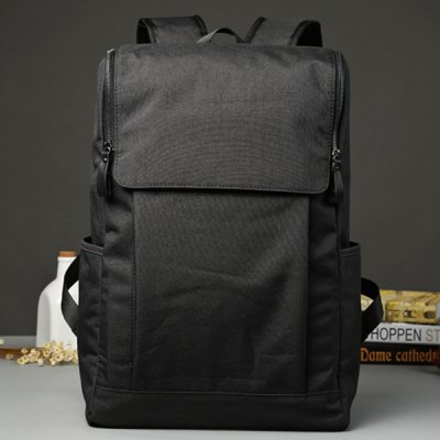 Casual Double Zips and Solid Color Design Backpack For Men