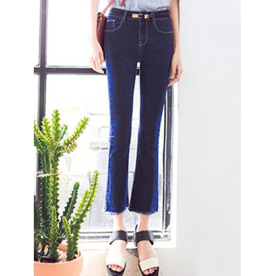 Ninth-Length Fringed Design Women's Flare Jeans