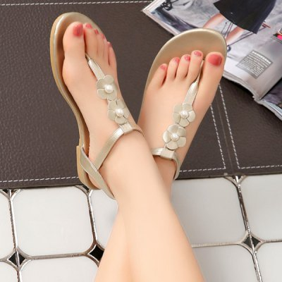 Casual Flip-Flop and Faux Pearl Design Sandals  For Women