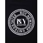 BoyNewYork Letters Chain Pattern Solid Color T-Shirt deal