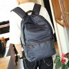 Casual Dark Color and PU Leather Design Backpack For Men