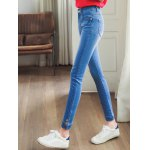 cheap Stylish Bleach Wash Pocket Embellished Jeans