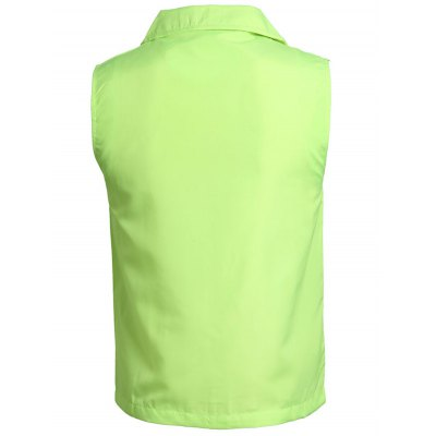 Solid Color Zip-Up Turn-Down Collar Polyester Waistcoat For Men