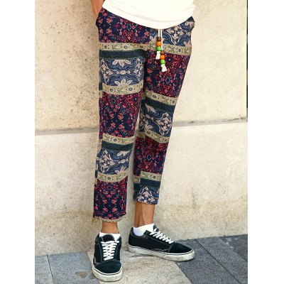Casual Style Lace-Up Tribal Printing Slimming Narrow Feet Pants For Men