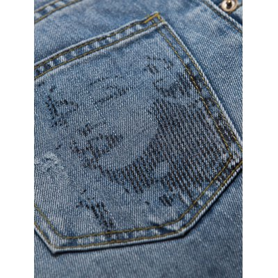 Ninth-Length Ripped Design Rolling Hem Jeans от GearBest.com INT
