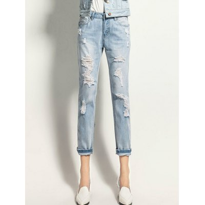 Button Fly Ripped Design Ninth Length Jeans