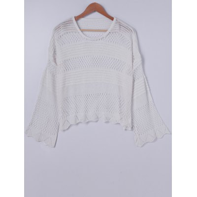 Stylish Round Neck Knitting Openwork Long Sleeves Top For Women