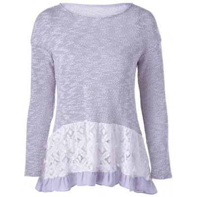 Long Sleeves Scoop Neck Lace Splicing Flounce T-Shirt For Women