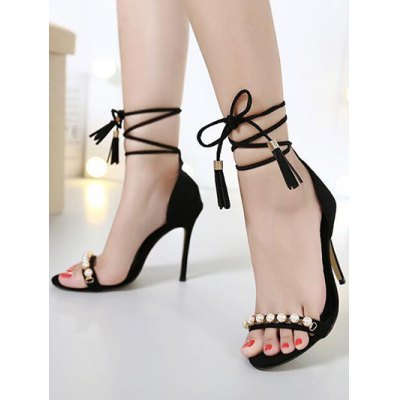 Trendy Tassel and Beading Design Sandals For Women