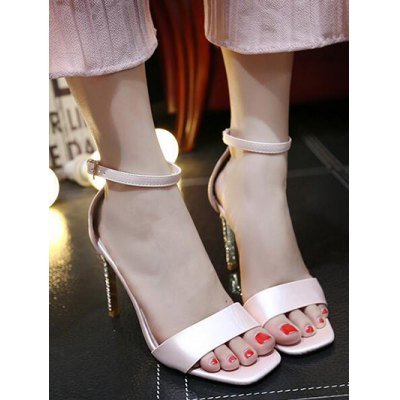 Elegant Ankle Strap and Pink Color Design Sandals For Women