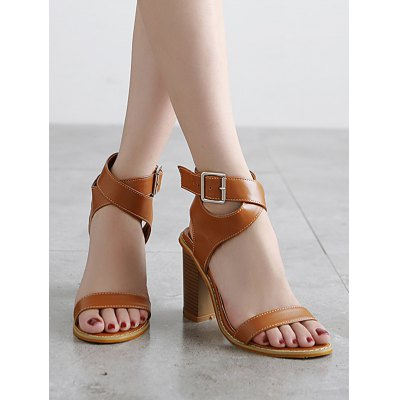 Retro Cross-Strap and Chunky Heel Design Sandals For Women