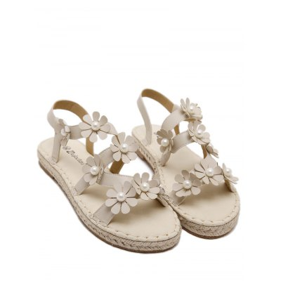 Leisure Flowers and Straw Design Sandals For Women