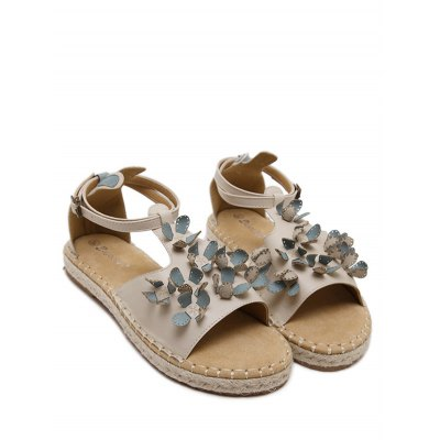 Casual Straw and Floral Design Sandals For Women