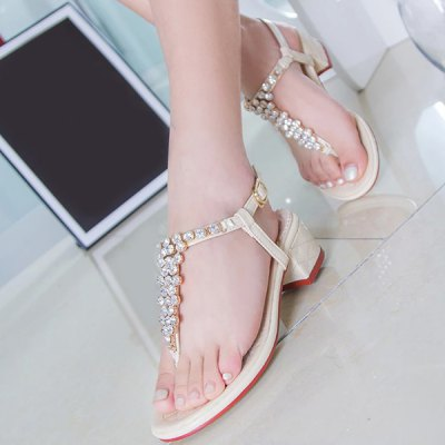 Sweet T Bar and Rhinestones Design Sandals For Women