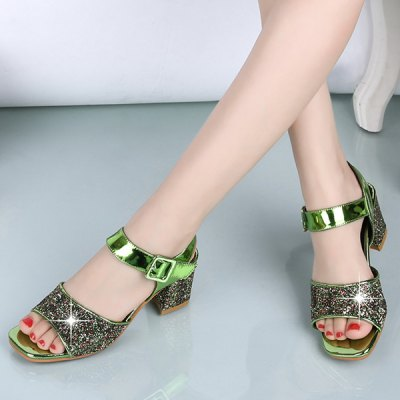 Stylish Chunky Heel and Sequined Cloth Design Sandals For Women