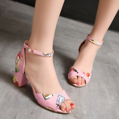 Fashion Ankle Strap and Perfume Bottle Printed Design Sandals For Women